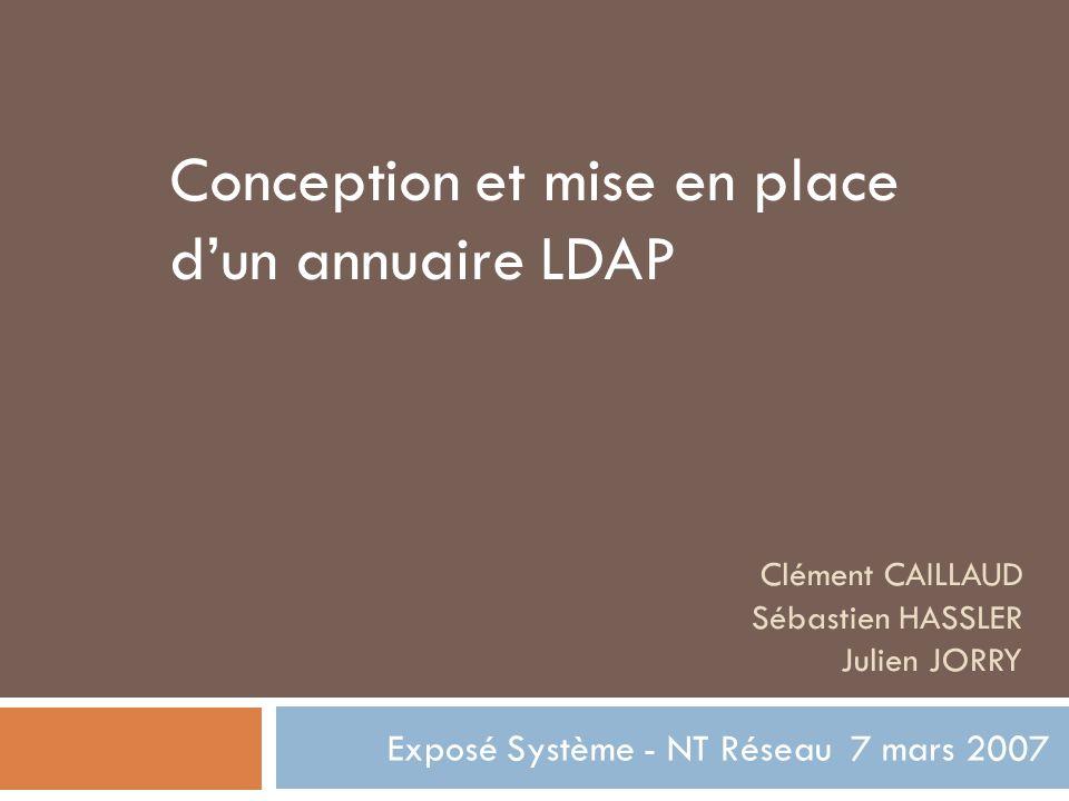 Clément CAILLAUD Sébastien HASSLER Julien JORRY Exposé Système - NT Réseau 7 mars 2007 Conception et mise en place dun annuaire LDAP