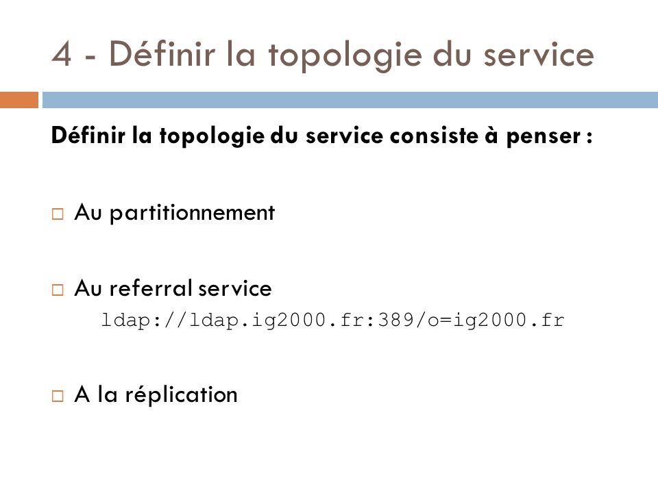 4 - Définir la topologie du service Définir la topologie du service consiste à penser : Au partitionnement Au referral service ldap://ldap.ig2000.fr:389/o=ig2000.fr A la réplication