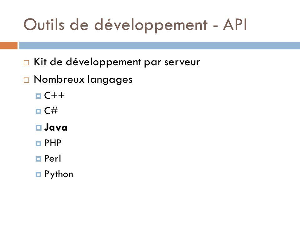 Outils de développement - API Kit de développement par serveur Nombreux langages C++ C# Java PHP Perl Python