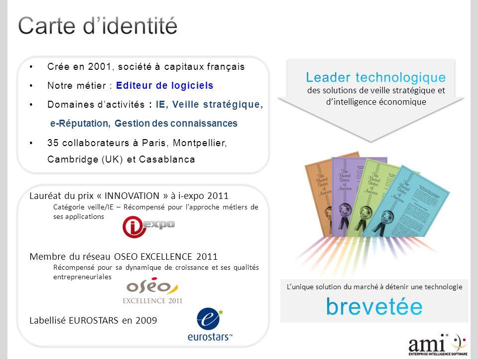 Crée en 2001, société à capitaux français Notre métier : Editeur de logiciels Domaines dactivités : IE, Veille stratégique, e-Réputation, Gestion des