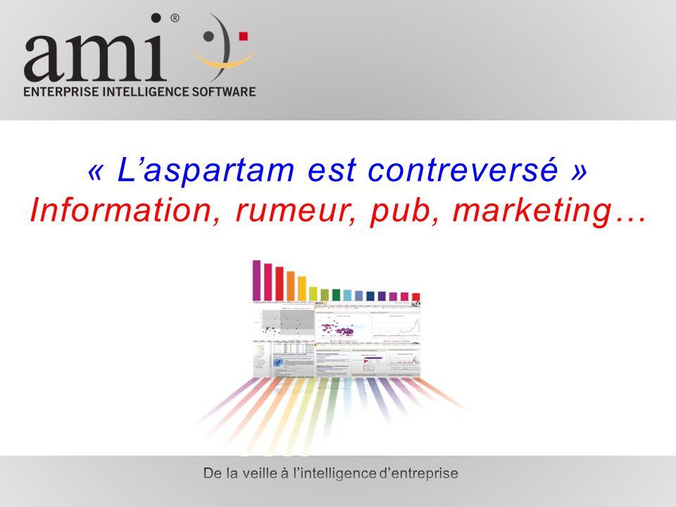 « Laspartam est contreversé » Information, rumeur, pub, marketing…