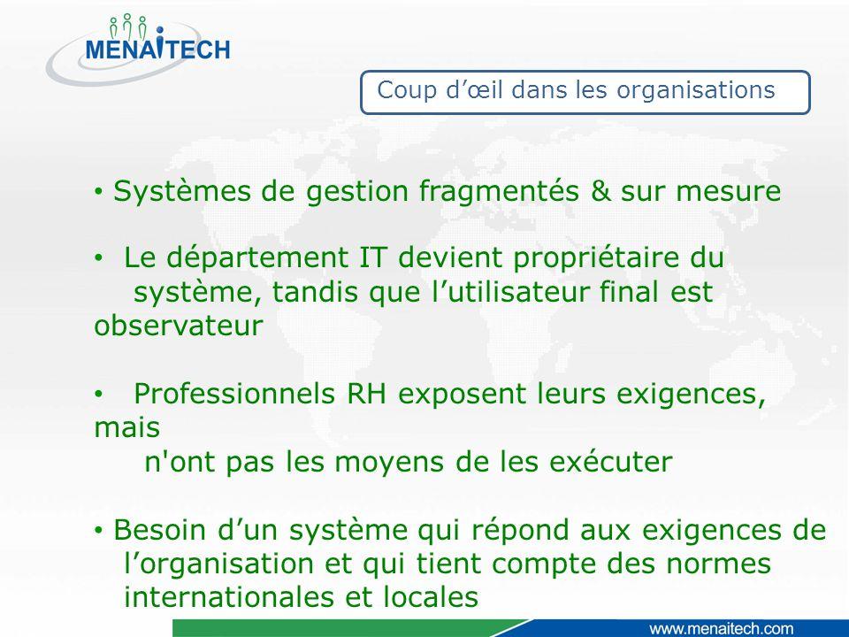 Coup dœil dans les organisations Systèmes de gestion fragmentés & sur mesure Le département IT devient propriétaire du système, tandis que lutilisateu