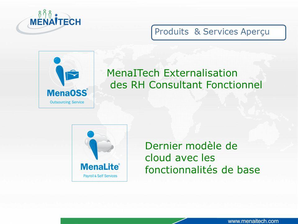 MenaITech Externalisation des RH Consultant Fonctionnel Dernier modèle de cloud avec les fonctionnalités de base Produits & Services Aperçu