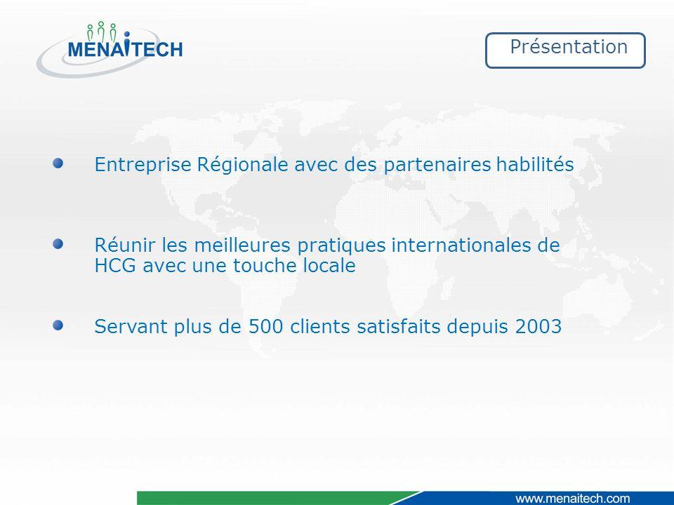Présentation Entreprise Régionale avec des partenaires habilités Réunir les meilleures pratiques internationales de HCG avec une touche locale Servant plus de 500 clients satisfaits depuis 2003