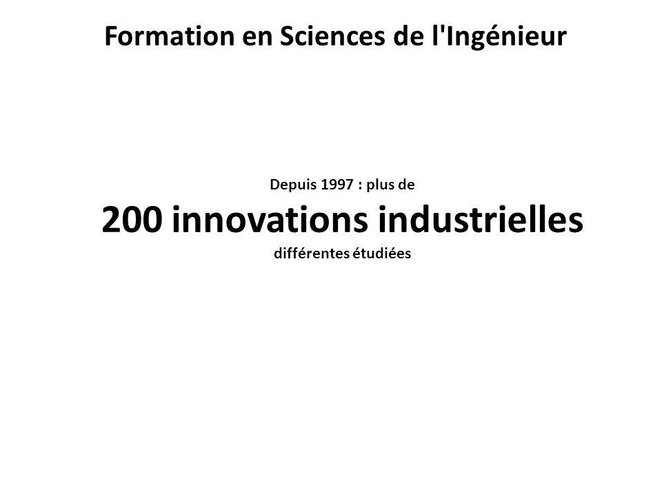 Depuis 1997 : plus de 200 innovations industrielles différentes étudiées Formation en Sciences de l Ingénieur
