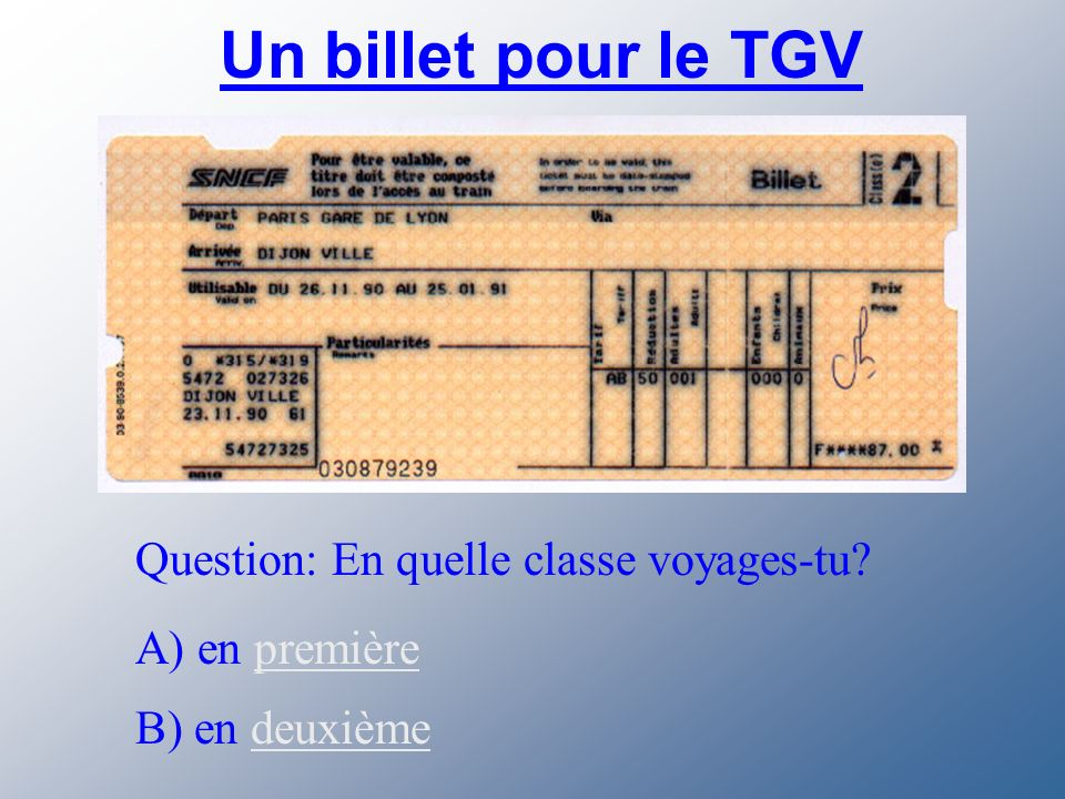 Les trains en France Voici le TGV. Cest le train à grande vitesse.