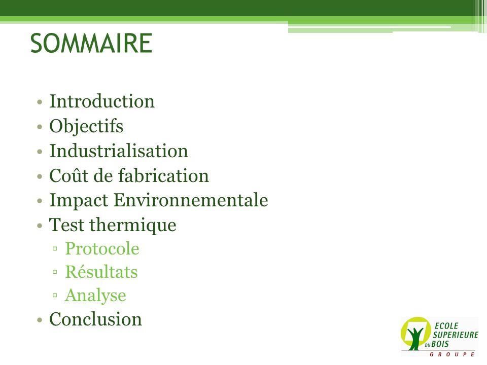 SOMMAIRE Introduction Objectifs Industrialisation Coût de fabrication Impact Environnementale Test thermique Protocole Résultats Analyse Conclusion