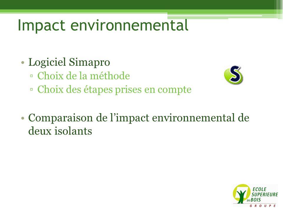 Logiciel Simapro Choix de la méthode Choix des étapes prises en compte Comparaison de limpact environnemental de deux isolants Impact environnemental