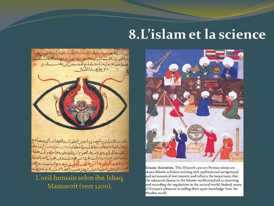 8.Lislam et la science L'oeil humain selon ibn Ishaq. Manuscrit (vers 1200).