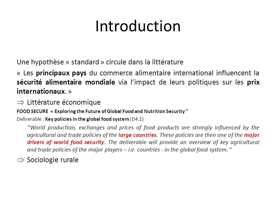 Introduction Une hypothèse « standard » circule dans la littérature « Les principaux pays du commerce alimentaire international influencent la sécurité alimentaire mondiale via limpact de leurs politiques sur les prix internationaux.