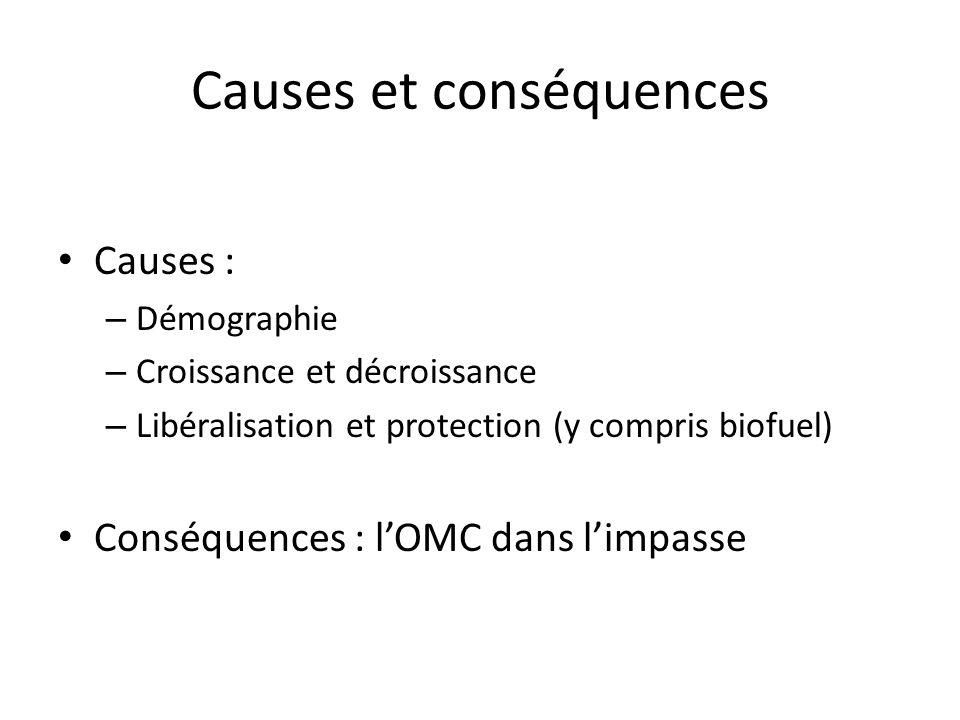 Causes et conséquences Causes : – Démographie – Croissance et décroissance – Libéralisation et protection (y compris biofuel) Conséquences : lOMC dans limpasse