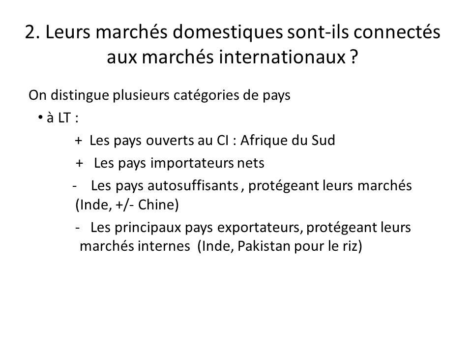 2.Leurs marchés domestiques sont-ils connectés aux marchés internationaux .