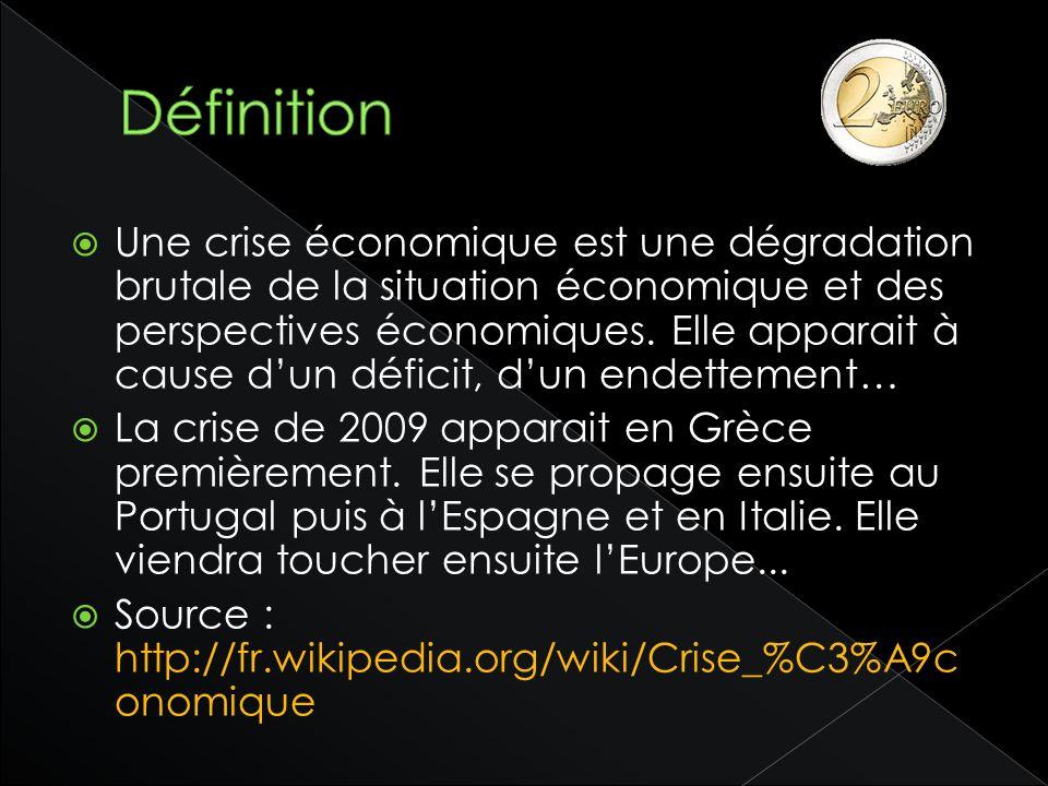 Une crise économique est une dégradation brutale de la situation économique et des perspectives économiques. Elle apparait à cause dun déficit, dun en