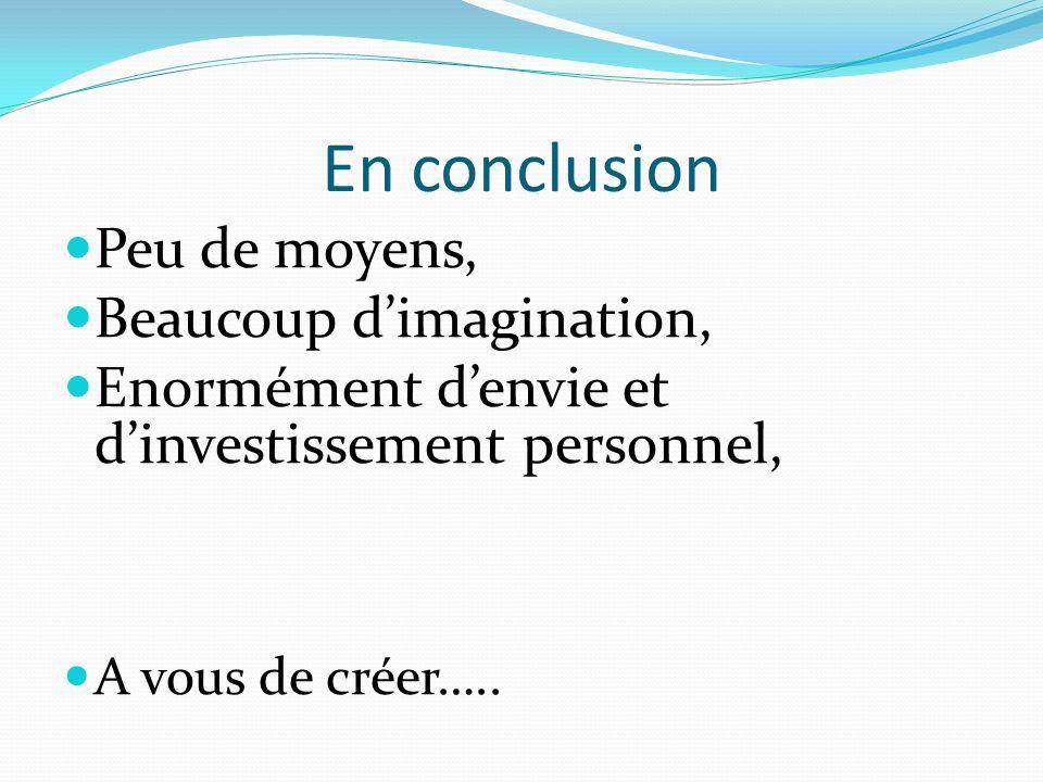 En conclusion Peu de moyens, Beaucoup dimagination, Enormément denvie et dinvestissement personnel, A vous de créer…..