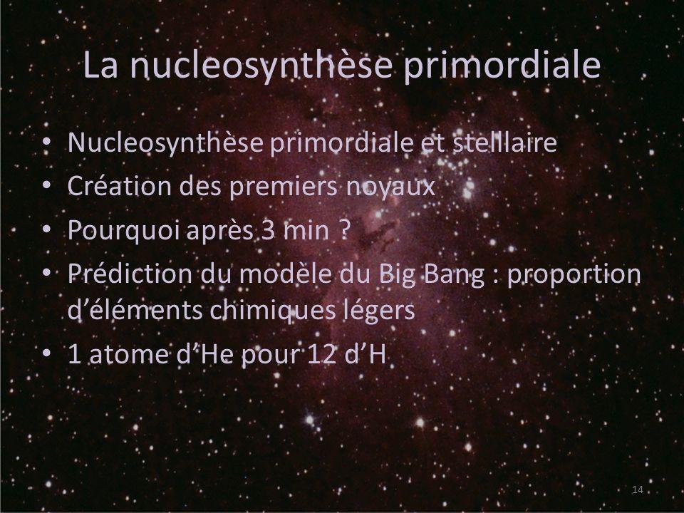 La nucleosynthèse primordiale Nucleosynthèse primordiale et stelllaire Création des premiers noyaux Pourquoi après 3 min ? Prédiction du modèle du Big