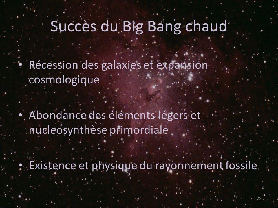 Succès du Big Bang chaud Récession des galaxies et expansion cosmologique Abondance des éléments légers et nucleosynthèse primordiale Existence et phy