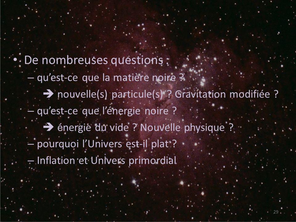 De nombreuses questions : – quest-ce que la matière noire ? nouvelle(s) particule(s) ? Gravitation modifiée ? – quest-ce que lénergie noire ? énergie