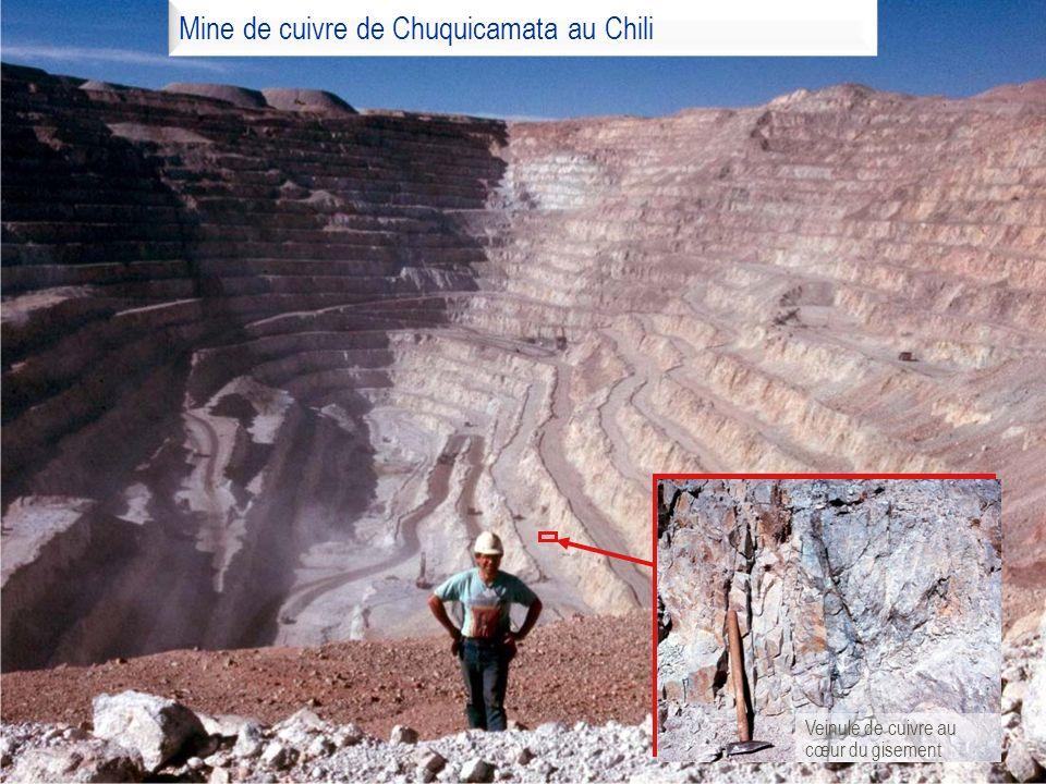 Mine de cuivre de Chuquicamata au Chili Veinule de cuivre au cœur du gisement