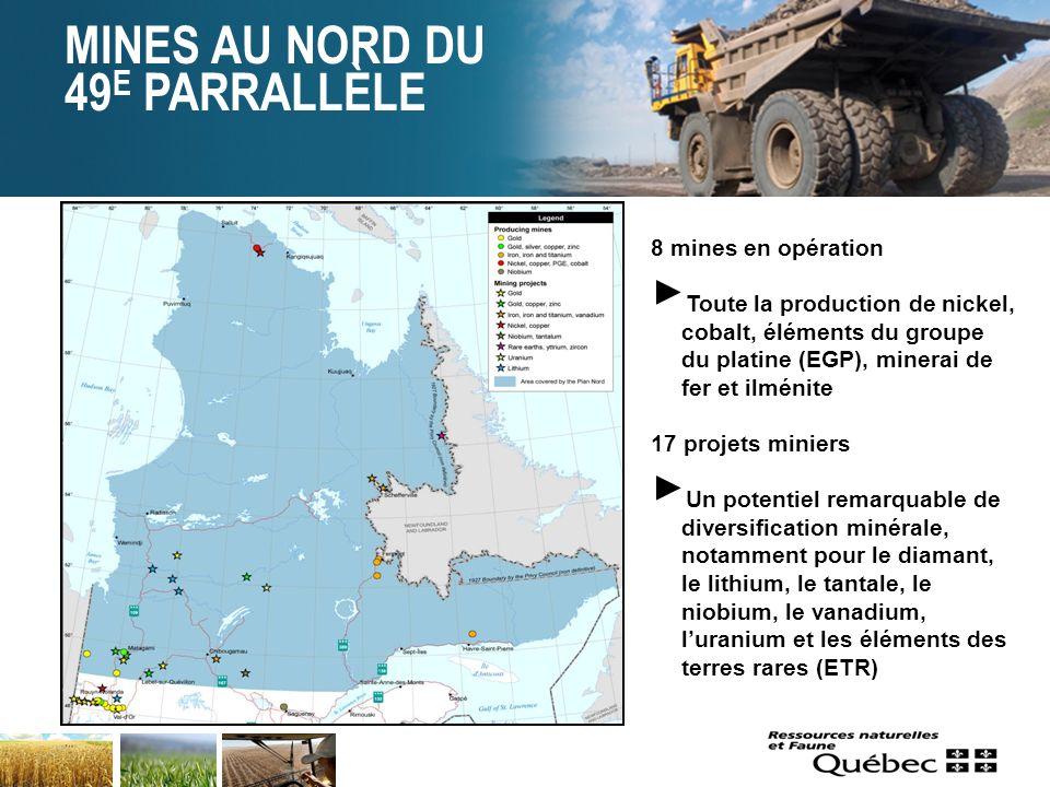 MINES AU NORD DU 49 E PARRALLÈLE 5 8 mines en opération Toute la production de nickel, cobalt, éléments du groupe du platine (EGP), minerai de fer et