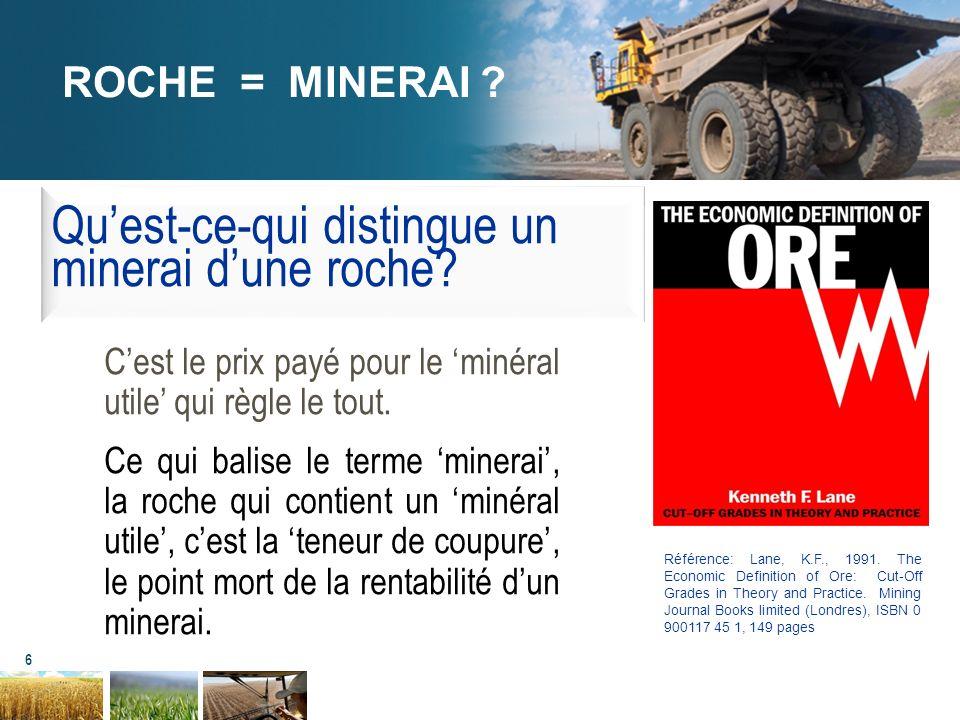 6 ROCHE = MINERAI ? Cest le prix payé pour le minéral utile qui règle le tout. Ce qui balise le terme minerai, la roche qui contient un minéral utile,
