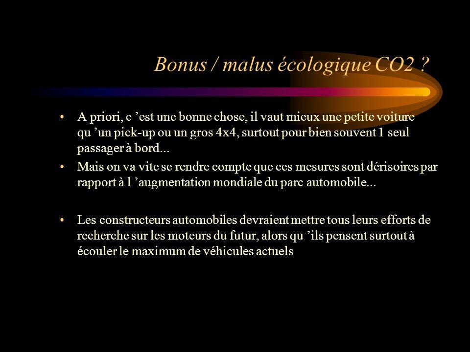 Combien votre voiture émet de CO2 ? Conso Berline moyenne = 6 lit/100km émission CO2 = 150g de CO2 par km pour 20000km/an = 3 tonnes de CO2 En 10 ans