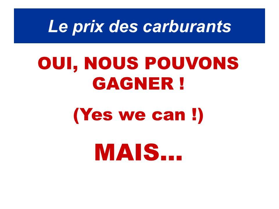 Le prix de l essence OUI, NOUS POUVONS GAGNER ! (Yes we can !) MAIS… Le prix des carburants