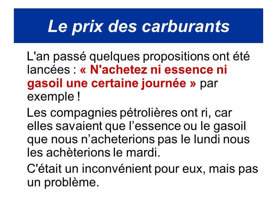 L an passé quelques propositions ont été lancées : « N achetez ni essence ni gasoil une certaine journée » par exemple .