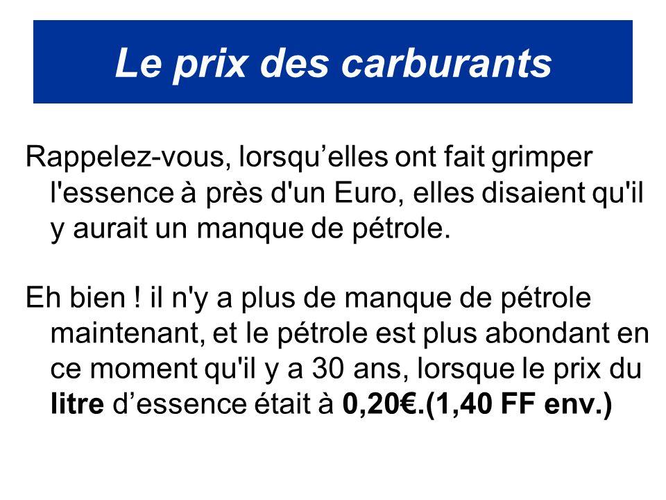 Rappelez-vous, lorsquelles ont fait grimper l essence à près d un Euro, elles disaient qu il y aurait un manque de pétrole.