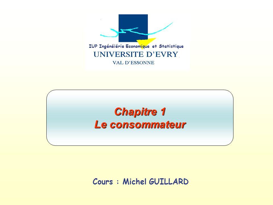 Cours : Michel GUILLARD Chapitre 1 Le consommateur IUP Ingénéiérie Economique et Statistique