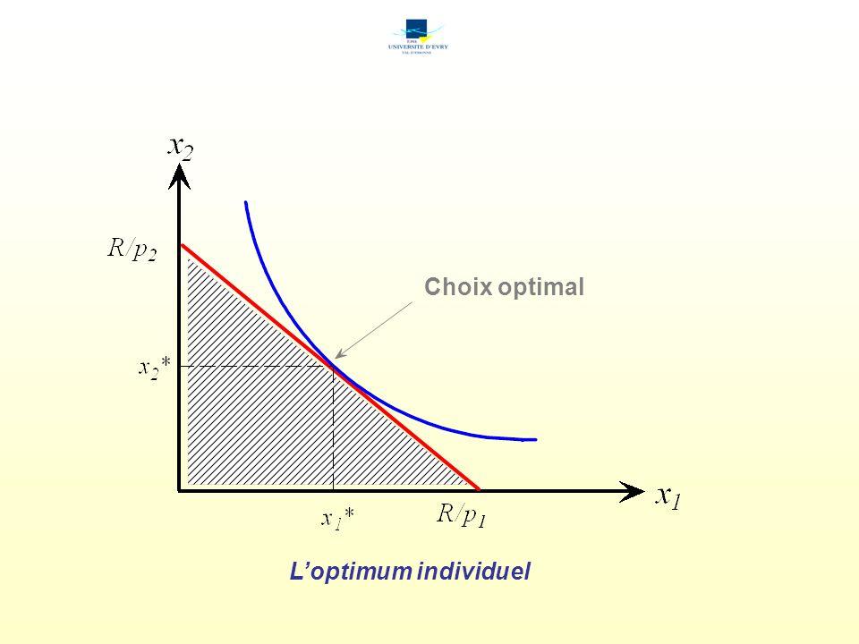 Loptimum individuel Choix optimal
