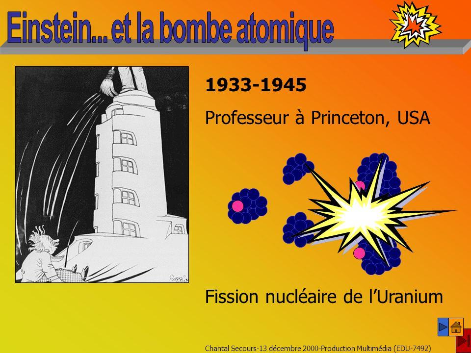 Chantal Secours-13 décembre 2000-Production Multimédia (EDU-7492) Théorie de la relativité (1905-1915) E = mc 2 Albert Einstein (1879-1955) Physique (1921) « Pour lavancement de la Physique Théorique, et pour la découverte de la loi de lEffet Photoélectrique (quanta) »