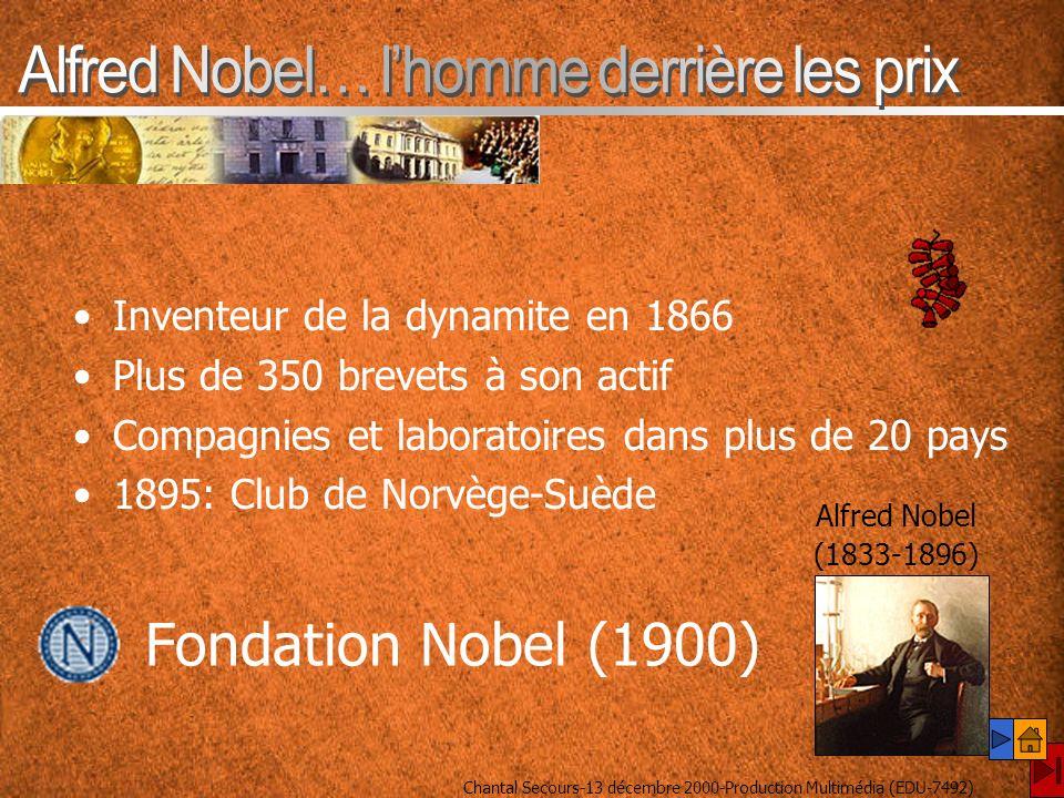 Inventeur de la dynamite en 1866 Plus de 350 brevets à son actif Compagnies et laboratoires dans plus de 20 pays 1895: Club de Norvège-Suède Alfred Nobel (1833-1896) Fondation Nobel (1900)