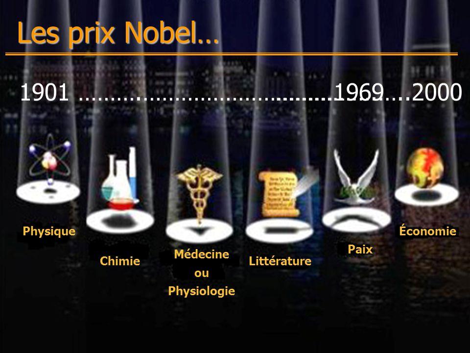 Chantal Secours-13 décembre 2000-Production Multimédia (EDU-7492) Physique Chimie Médecine ou Physiologie Littérature Paix Économie Les prix Nobel… 1901 ……….…………………………1969…………….…..2000