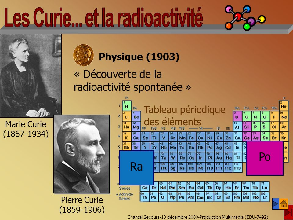 Chantal Secours-13 décembre 2000-Production Multimédia (EDU-7492) Marie Curie (1867-1934) Pierre Curie (1859-1906) « Découverte de la radioactivité spontanée » Physique (1903) Tableau périodique des éléments Ra Po