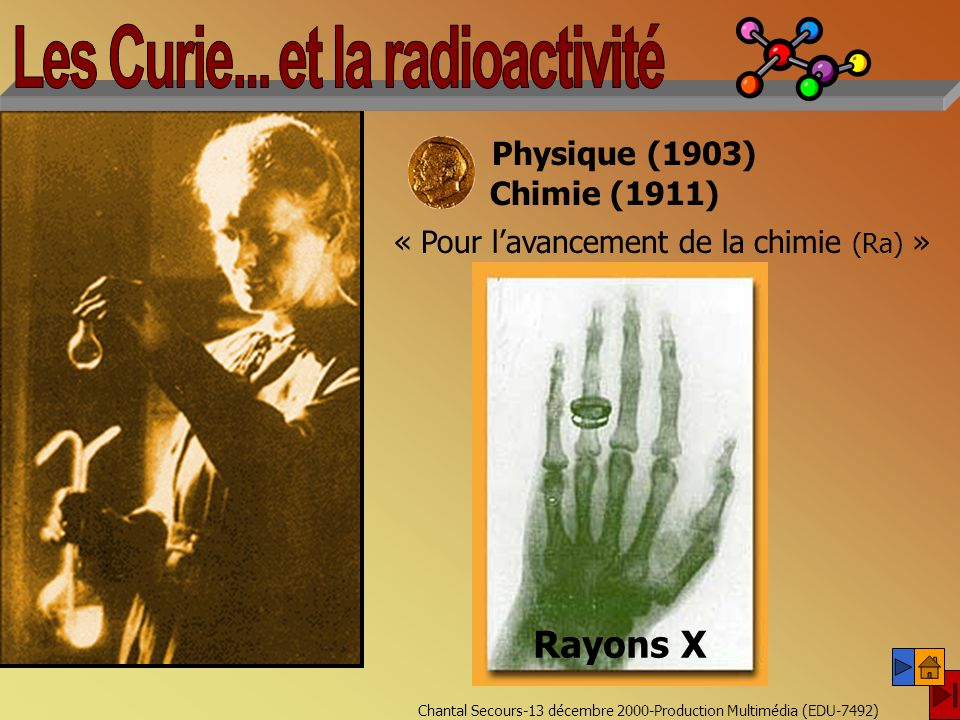 Chantal Secours-13 décembre 2000-Production Multimédia (EDU-7492) Chimie (1911) « Pour lavancement de la chimie (Ra) » Marie Curie (1867-1934) Pierre Curie (1859-1906) Physique (1903) Rayons X