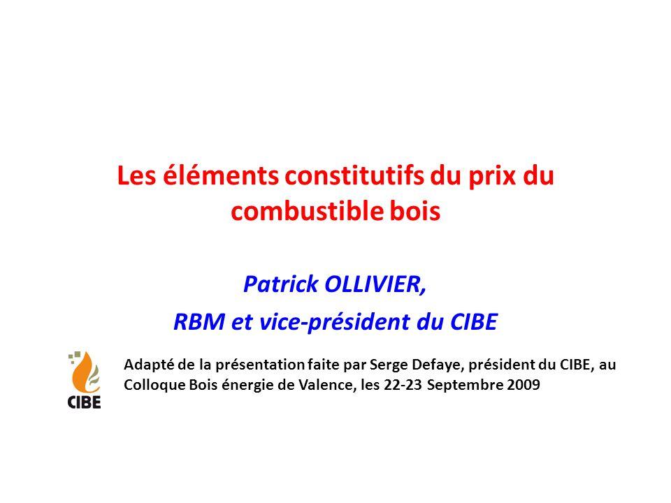 Les éléments constitutifs du prix du combustible bois Patrick OLLIVIER, RBM et vice-président du CIBE Adapté de la présentation faite par Serge Defaye