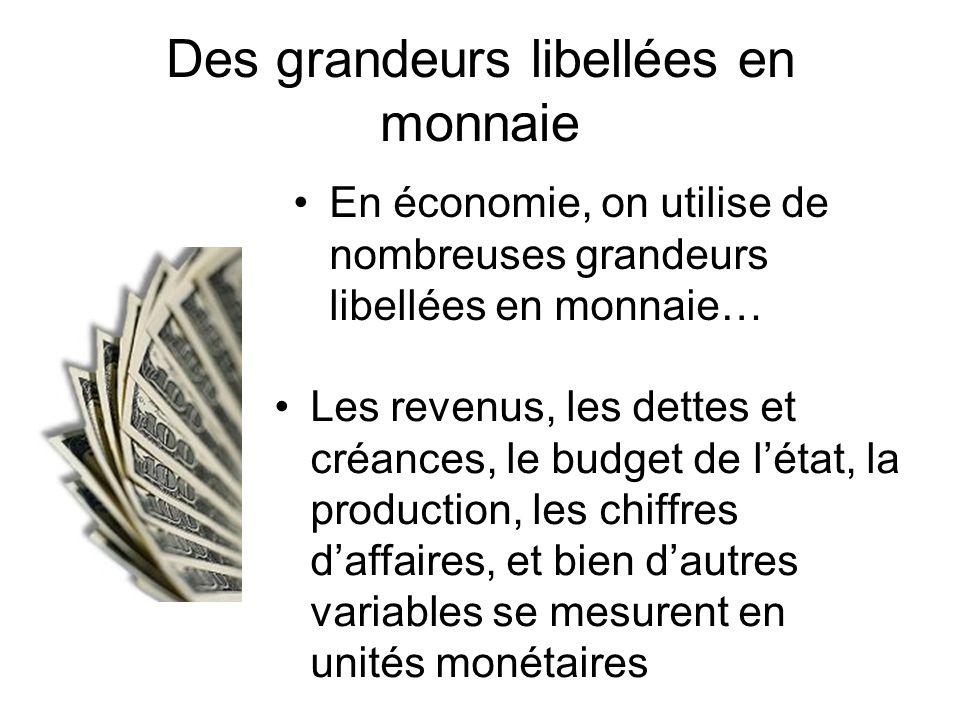 Des grandeurs libellées en monnaie En économie, on utilise de nombreuses grandeurs libellées en monnaie… Les revenus, les dettes et créances, le budge