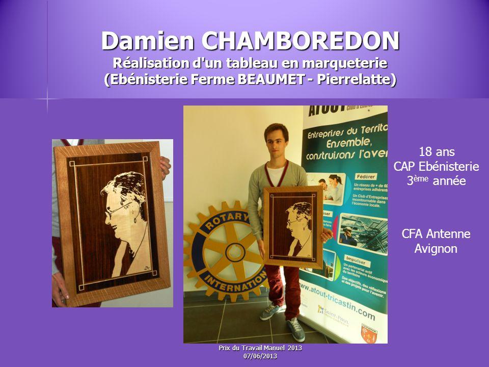 Damien CHAMBOREDON Réalisation d un tableau en marqueterie (Ebénisterie Ferme BEAUMET - Pierrelatte) 18 ans CAP Ebénisterie 3 ème année CFA Antenne Avignon Prix du Travail Manuel 2013 07/06/2013
