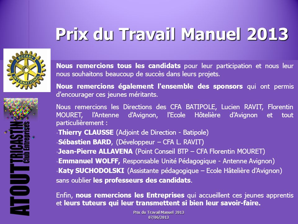 Prix du Travail Manuel 2013 Nous remercions tous les candidats pour leur participation et nous leur nous souhaitons beaucoup de succès dans leurs projets.