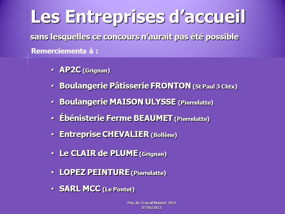 Les 2 èmes Prix ex-æquo Dotation : Prix du Travail Manuel 2013 07/06/2013
