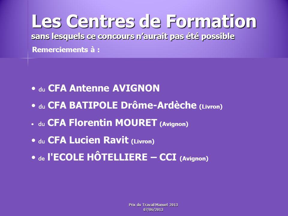 Les Centres de Formation sans lesquels ce concours naurait pas été possible du CFA Antenne AVIGNON du CFA BATIPOLE Drôme-Ardèche (Livron) du CFA Florentin MOURET (Avignon) du CFA Lucien Ravit (Livron) de l ECOLE HÔTELLIERE – CCI (Avignon) Remerciements à : Prix du Travail Manuel 2013 07/06/2013