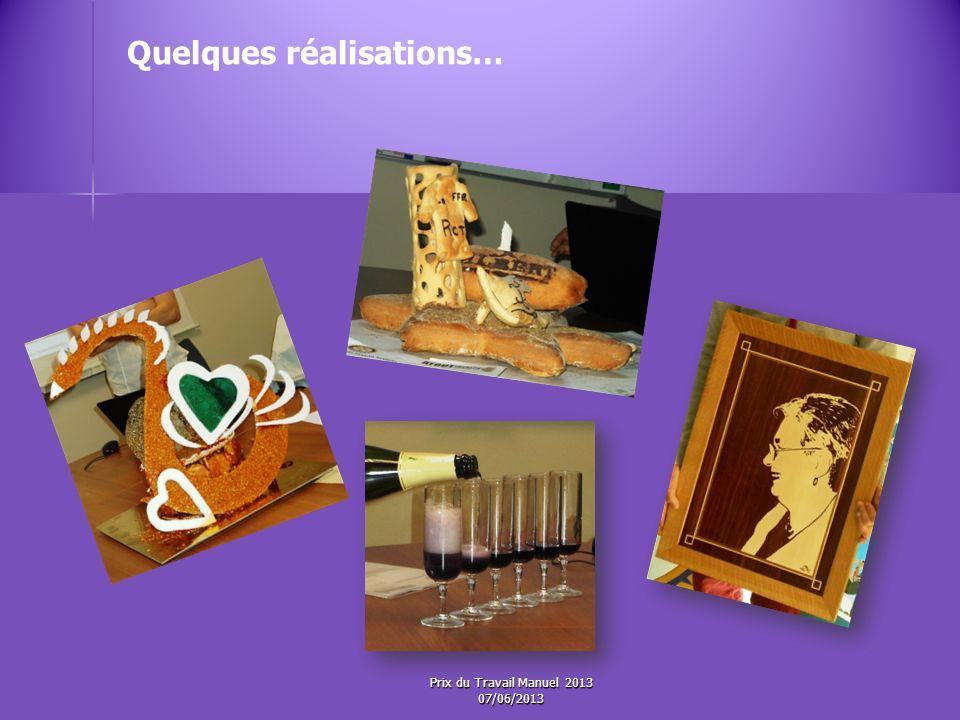 Les 3 èmes Prix ex-æquo Dotation : Prix du Travail Manuel 2013 07/06/2013
