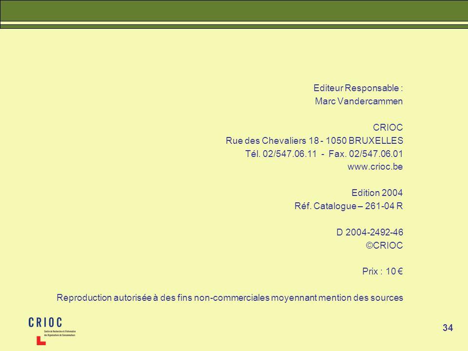 34 Editeur Responsable : Marc Vandercammen CRIOC Rue des Chevaliers 18 - 1050 BRUXELLES Tél. 02/547.06.11 - Fax. 02/547.06.01 www.crioc.be Edition 200