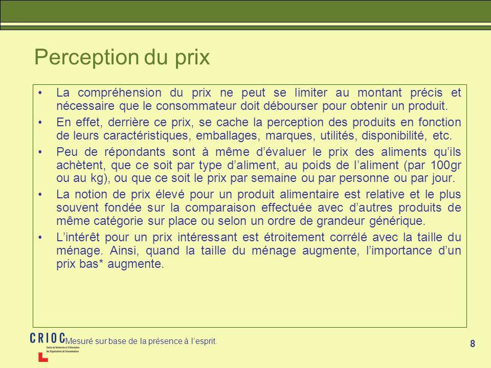 8 Perception du prix La compréhension du prix ne peut se limiter au montant précis et nécessaire que le consommateur doit débourser pour obtenir un pr