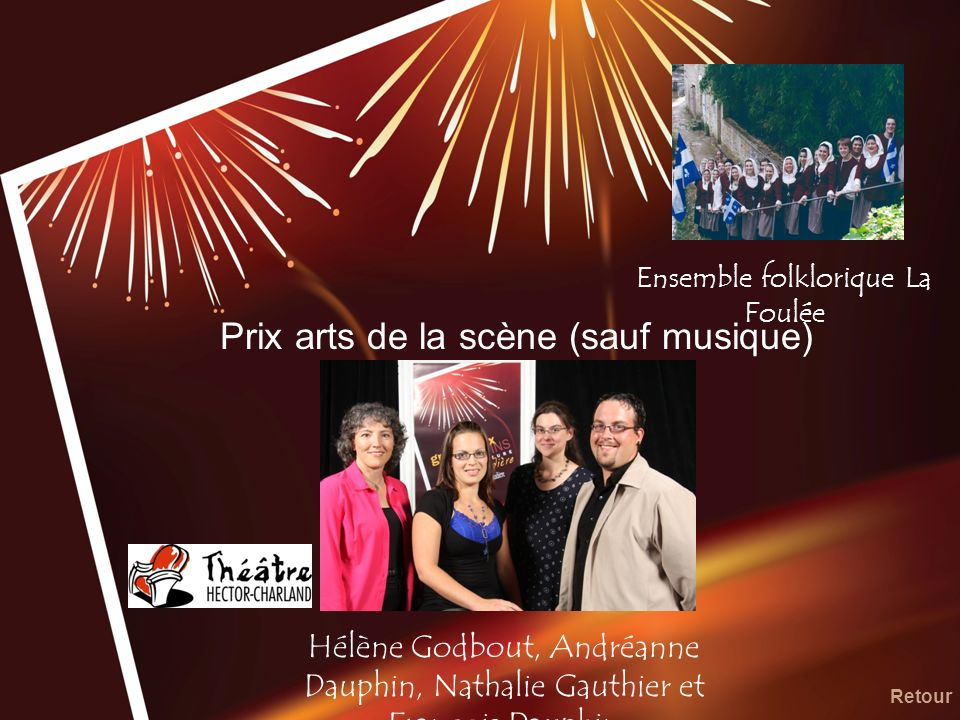 Prix arts de la scène (sauf musique) Hélène Godbout, Andréanne Dauphin, Nathalie Gauthier et François Dauphin Retour Ensemble folklorique La Foulée
