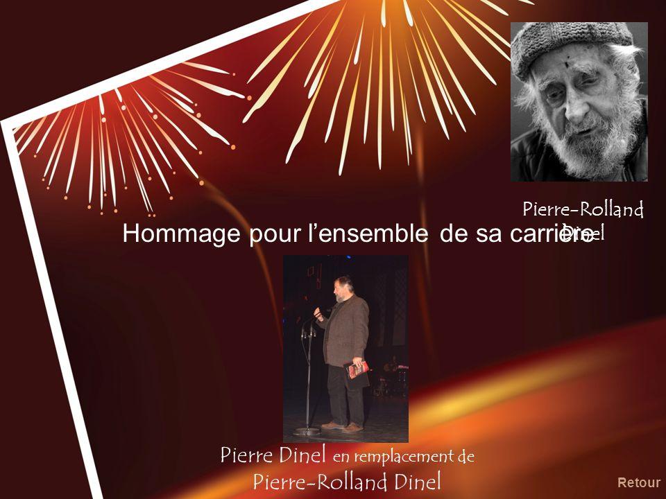 Hommage pour lensemble de sa carrière Pierre Dinel en remplacement de Pierre-Rolland Dinel Retour Pierre-Rolland Dinel