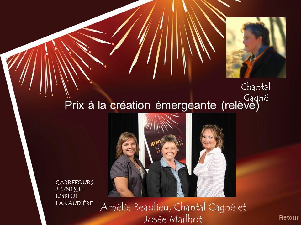 Prix à la création émergeante (relève) Amélie Beaulieu, Chantal Gagné et Josée Mailhot Retour CARREFOURS JEUNESSE- EMPLOI LANAUDIÈRE Chantal Gagné