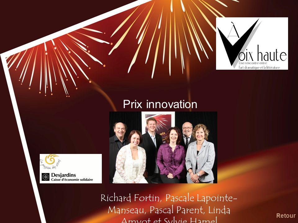 Prix innovation Richard Fortin, Pascale Lapointe- Manseau, Pascal Parent, Linda Amyot et Sylvie Hamel Retour