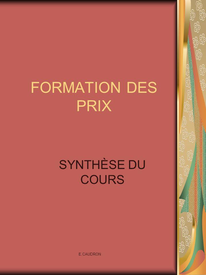 E.CAUDRON FORMATION DES PRIX SYNTHÈSE DU COURS