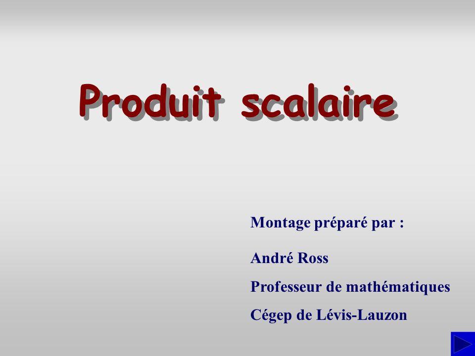 Montage préparé par : André Ross Professeur de mathématiques Cégep de Lévis-Lauzon Produit scalaire Produit scalaire